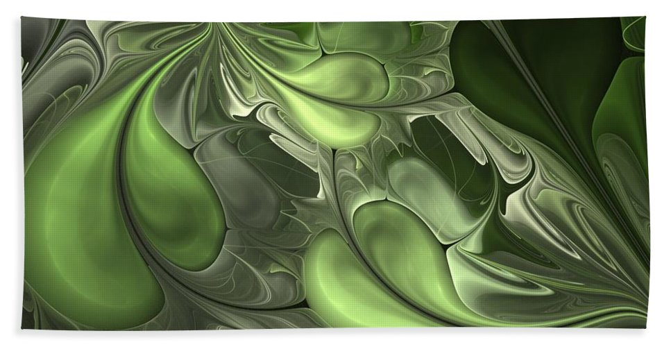 Digital Painting Beach Towel featuring the digital art Untitled 1-26-10 Pale Green by David Lane