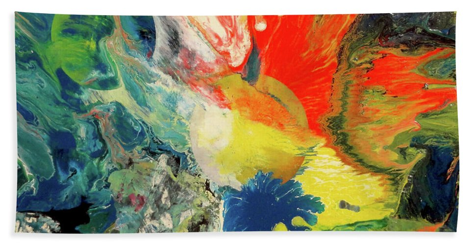 Moon Beach Towel featuring the painting Untitled 2 by Yoseph Abate