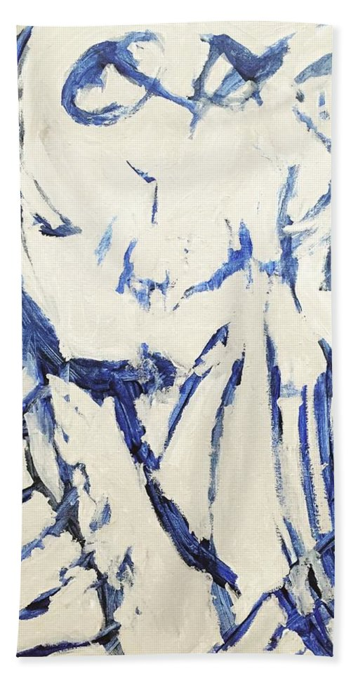 Abstract Beach Towel featuring the painting Untitled by Nicole Saenz