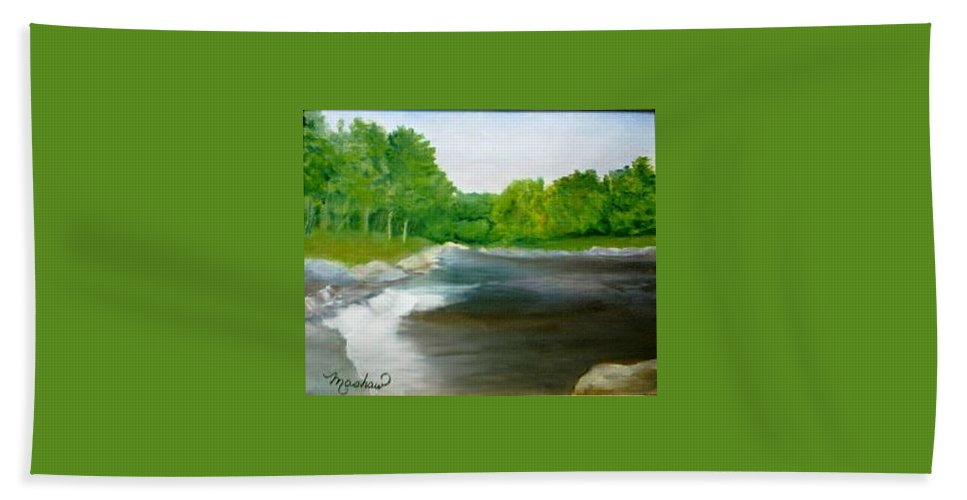 River Beach Towel featuring the painting Untitled Plein Aire by Sheila Mashaw