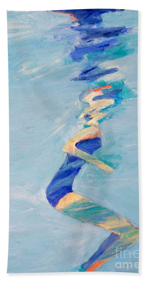 Water Beach Towel featuring the painting Untitled Swimmer by Lisa Baack