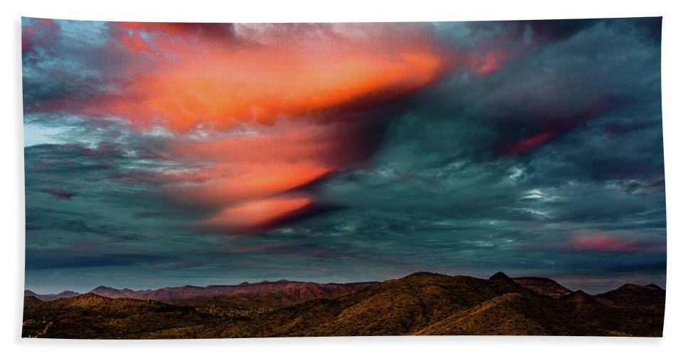 Drone Photography Beach Towel featuring the photograph Unusual Clouds Catch Sunset by David Stevens