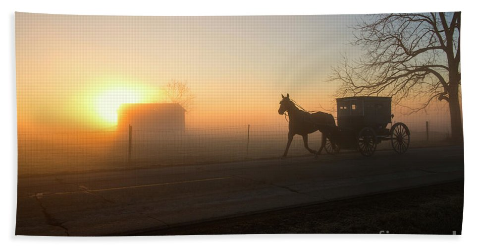 Amish Beach Towel featuring the photograph Up At Dawn by David Arment