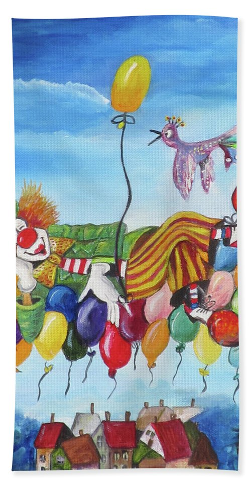 Clown Beach Towel featuring the painting Up, Up And Away by Mikki Alhart