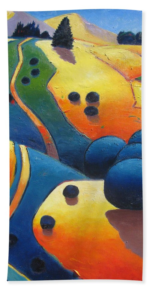 California Hills Beach Towel featuring the painting Uphill Climb Revisited. by Gary Coleman