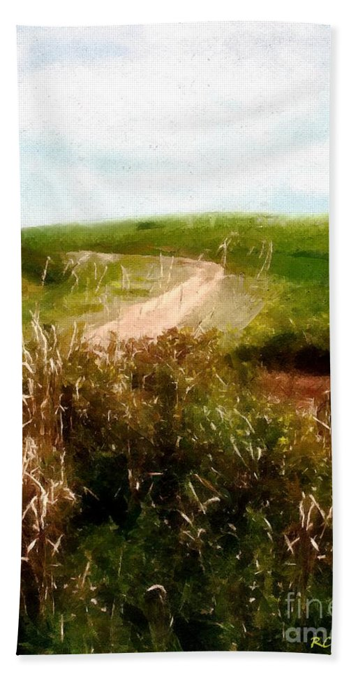 Autumn Beach Towel featuring the painting Uphill Curve by RC DeWinter