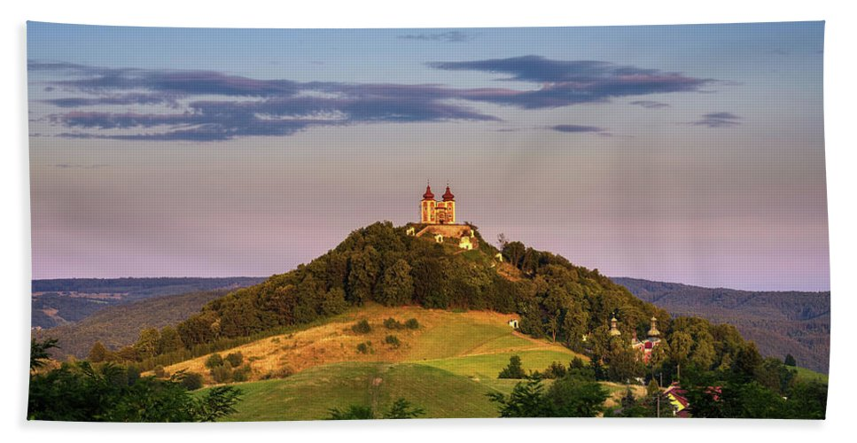 Banska Stiavnica Beach Towel featuring the photograph Upper Church With Two Towers In Banska Stiavnica, Slovakia by Miroslav Liska