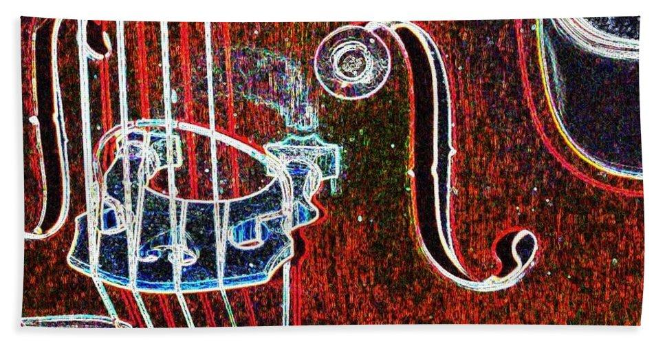 Upright Bass Beach Towel featuring the digital art Upright Bass Close Up by Anita Burgermeister