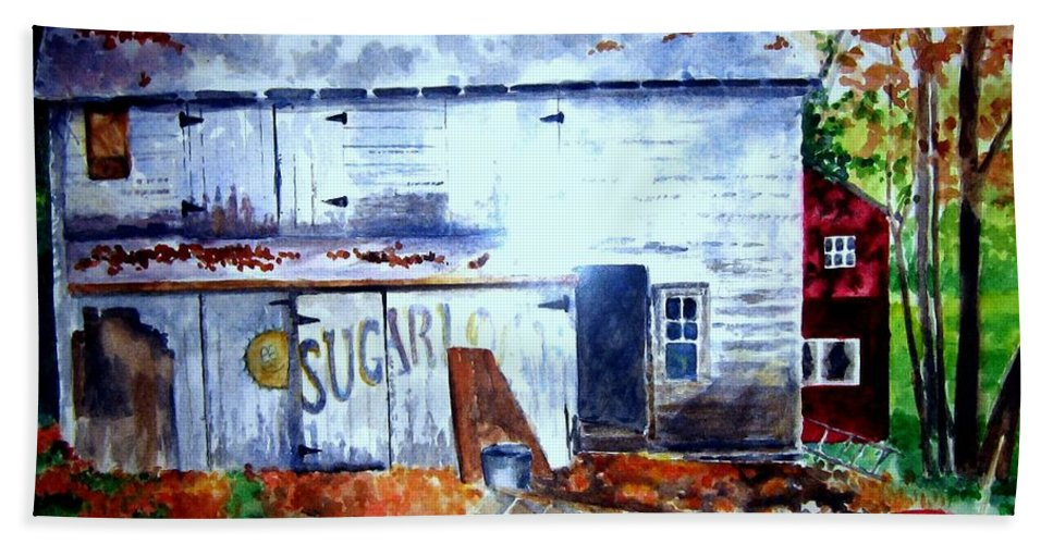 Autumn Beach Towel featuring the painting Upstate Barn by Sandy Ryan