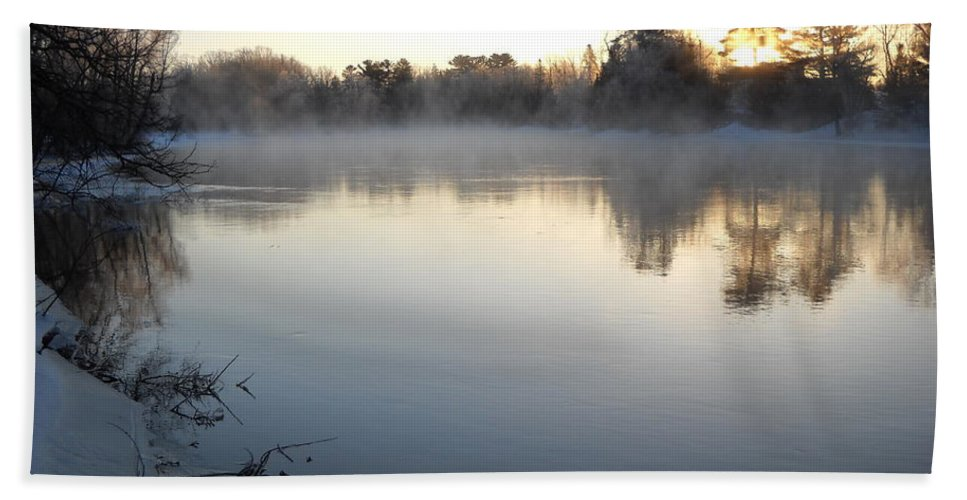 Sunrise Beach Towel featuring the photograph Upstream Mississippi River After Ice Out by Kent Lorentzen