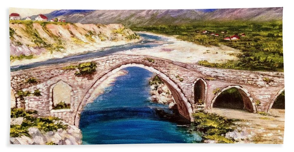 Historic Beach Towel featuring the painting Ura E Mesit - Location Shkoder Albania by Alban Dizdari