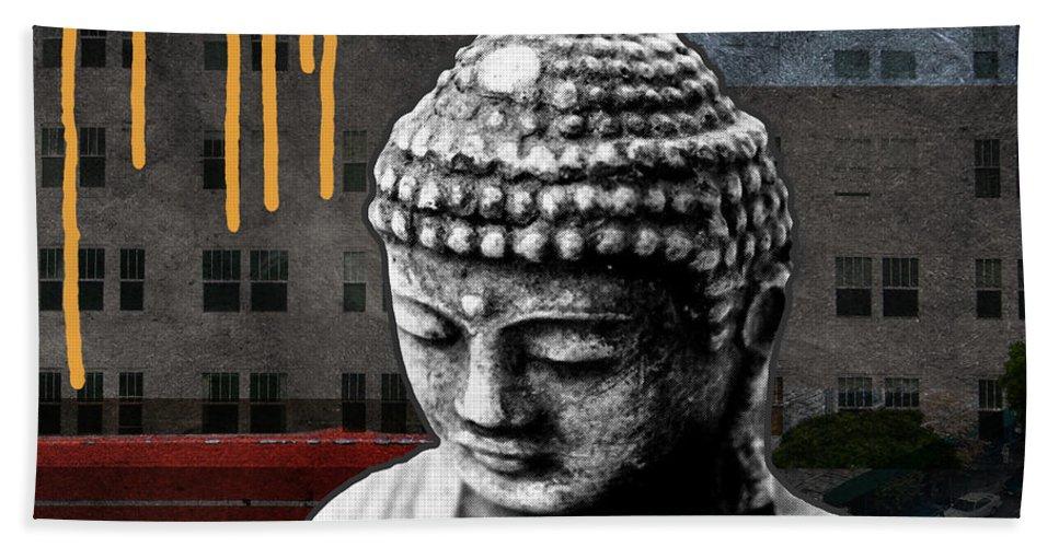 Buddha Beach Towel featuring the mixed media Urban Buddha by Linda Woods