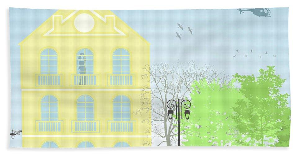 Illustration Beach Towel featuring the digital art Urban Scene by Gaspar Avila