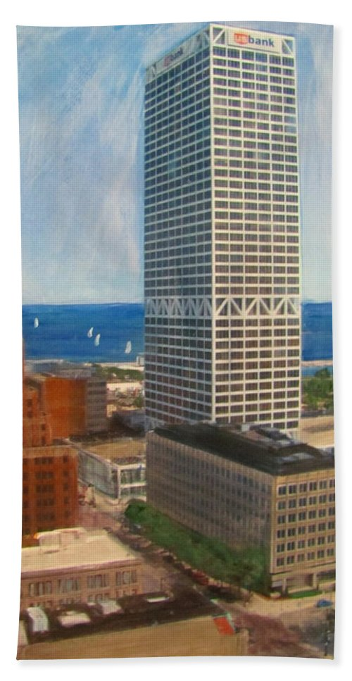 Milwaukee Beach Towel featuring the mixed media Us Bank And Sailboats by Anita Burgermeister
