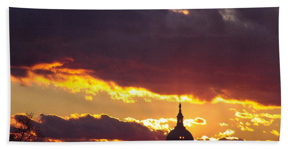Sunset Beach Towel featuring the photograph U.s. Capitol Dome At Sunset by Rod Ismay