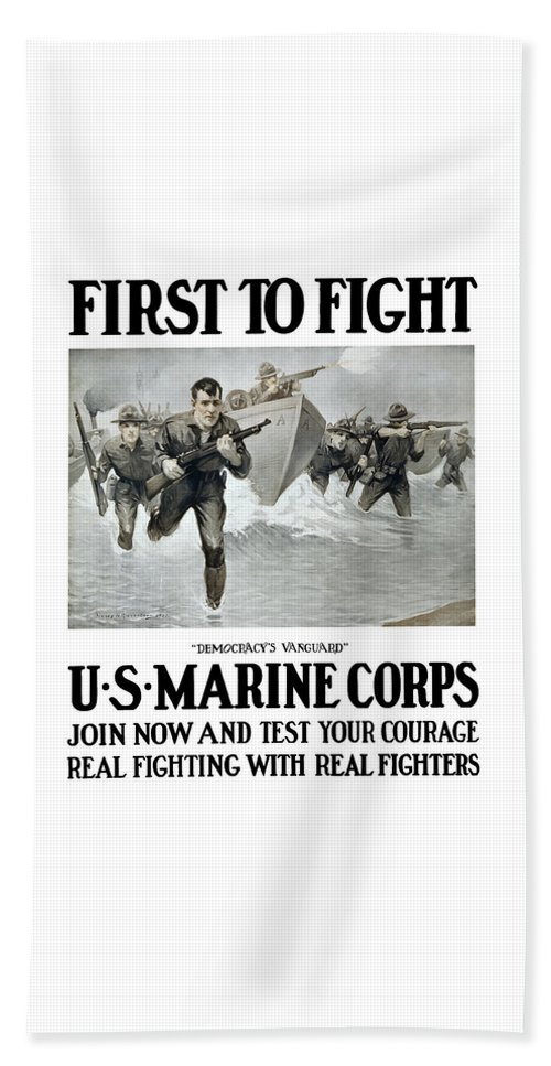 Marines Beach Towel featuring the painting Us Marine Corps - First To Fight by War Is Hell Store