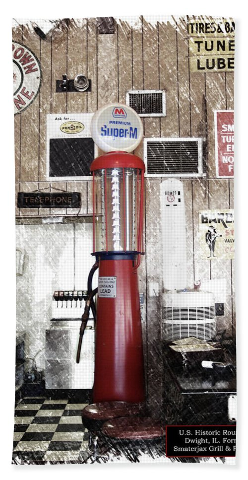 Mother Road Beach Towel featuring the photograph Us Route 66 Smaterjax Dwight Il Gas Pump 01 Pa 01 by Thomas Woolworth