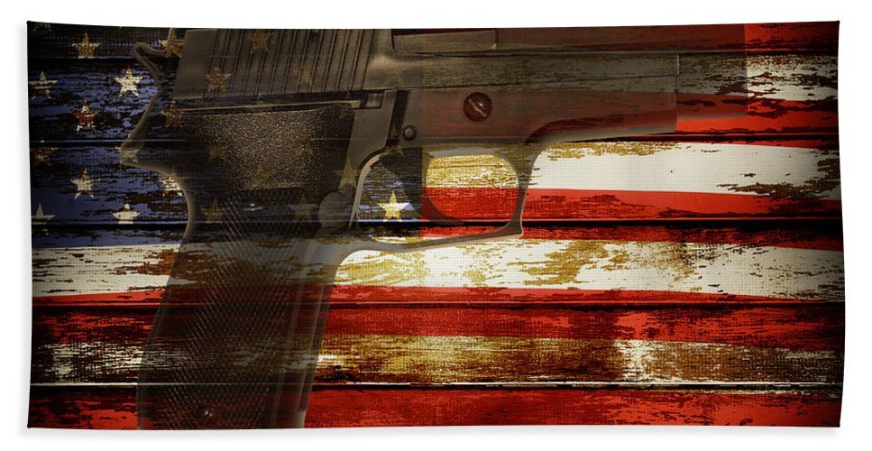 Amendment Beach Towel featuring the photograph Usa Handgun by Les Cunliffe