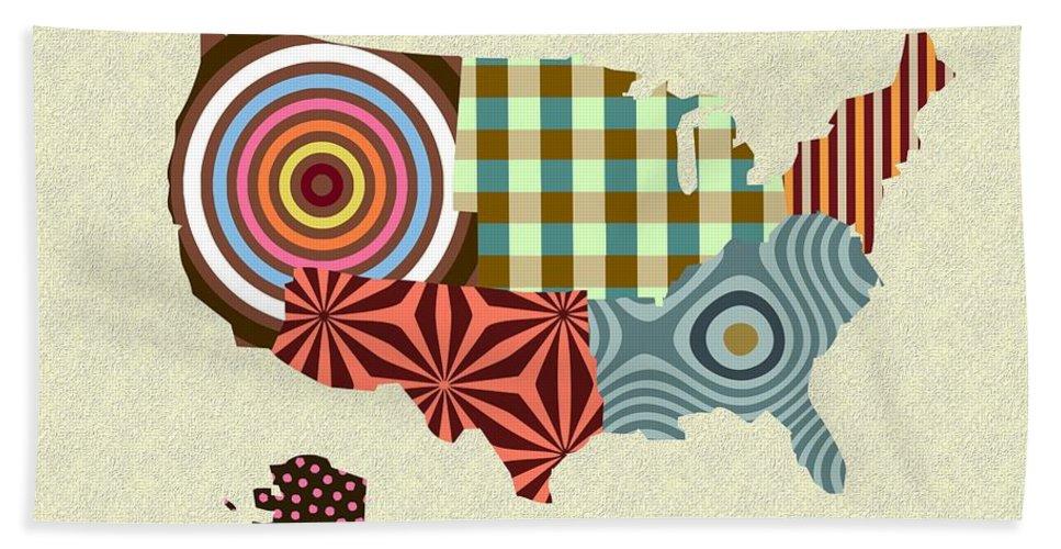 Usa Map Beach Towel featuring the digital art Usa Map by Lanre Studio