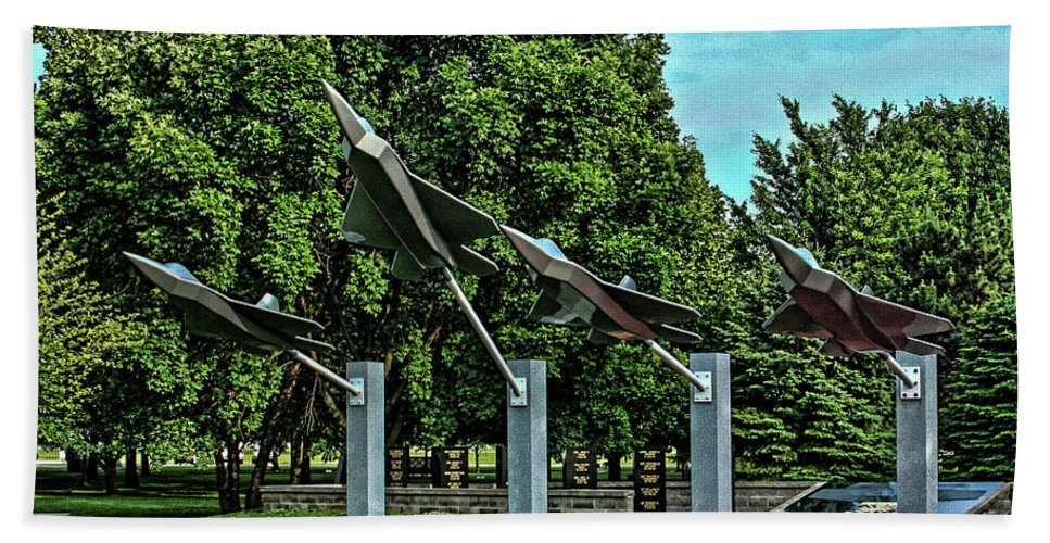 Usaf Beach Towel featuring the photograph Usaf Museum Memorial Garden by Tommy Anderson