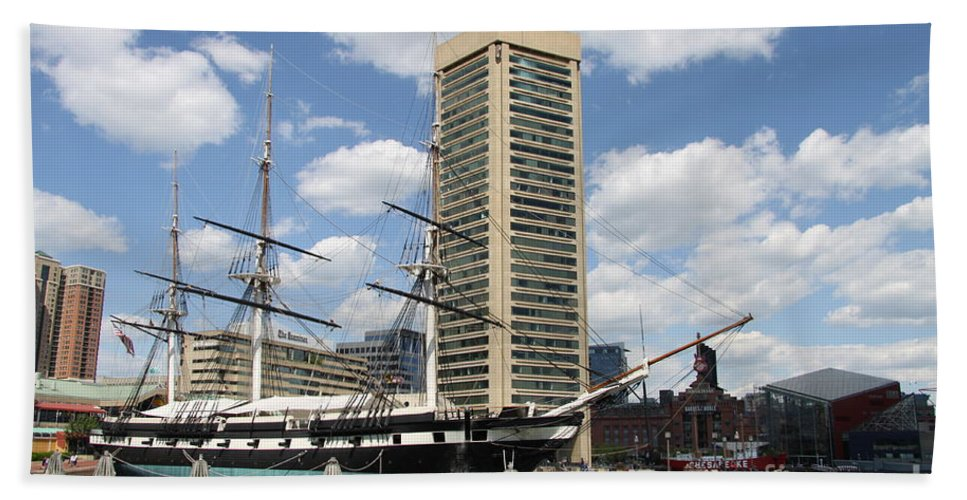 All Sail War Ship Beach Towel featuring the photograph Uss Constellation - Baltimore Inner Harbor by Christiane Schulze Art And Photography