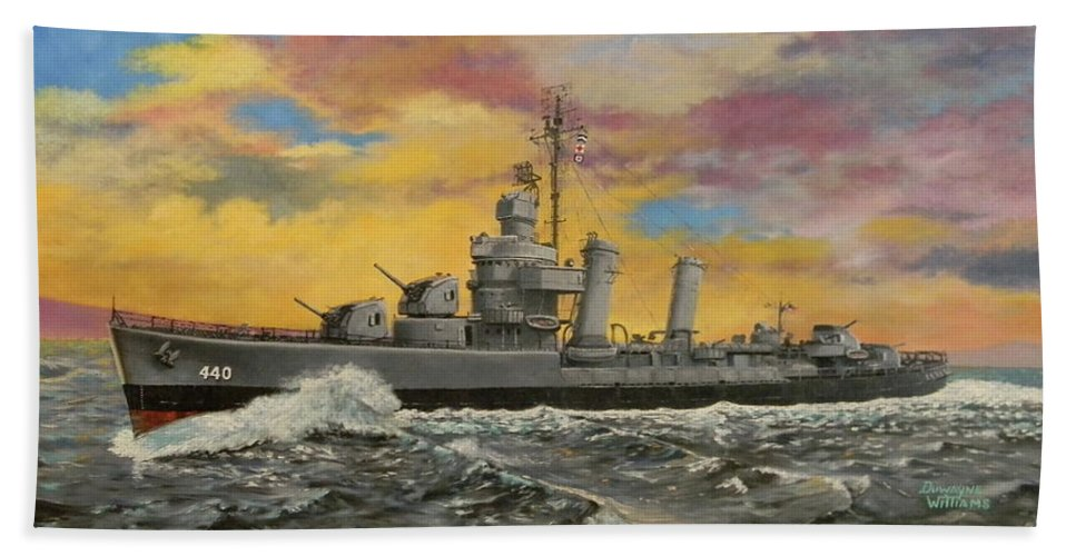 Destroyer Beach Towel featuring the painting Uss Ericsson by Duwayne Williams