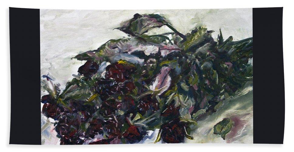 Landscape Beach Towel featuring the painting Ususena Ruze - Po Trech Kouscich A - Detail by Pablo de Choros