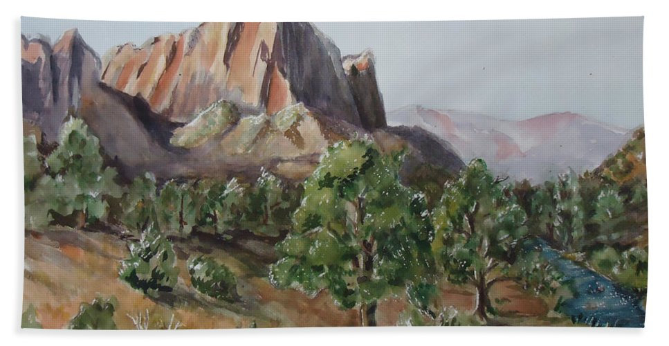 Mountain Beach Towel featuring the painting Utah Valley by Charme Curtin