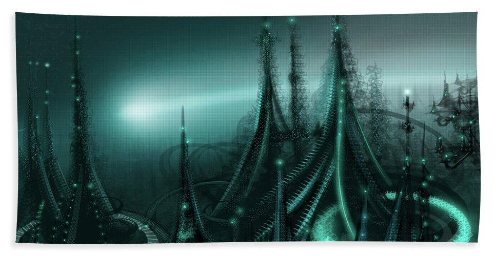 Cityscape Beach Towel featuring the digital art Utopia by James Christopher Hill