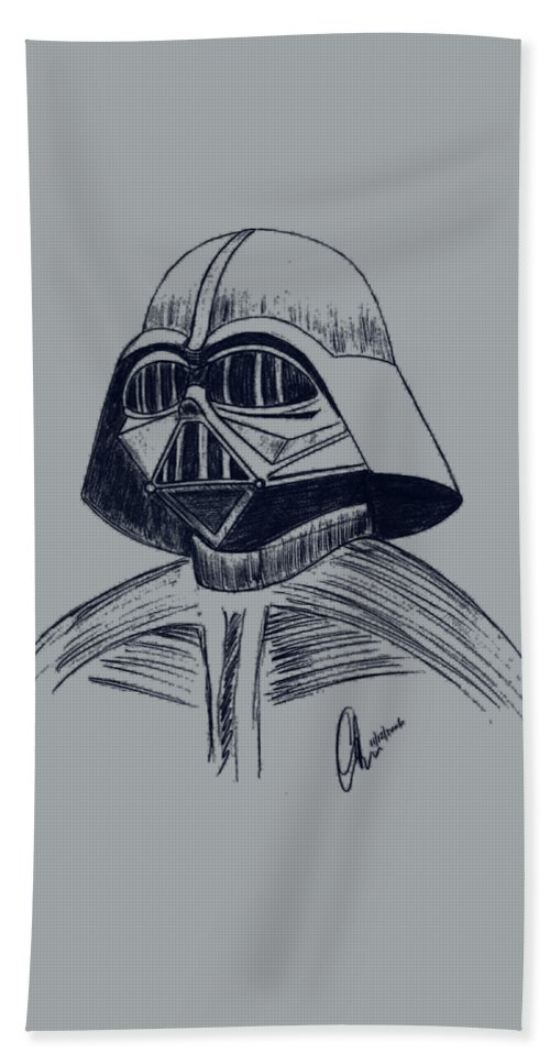 Vader Beach Towel featuring the drawing Vader Sketch by Chris Thomas