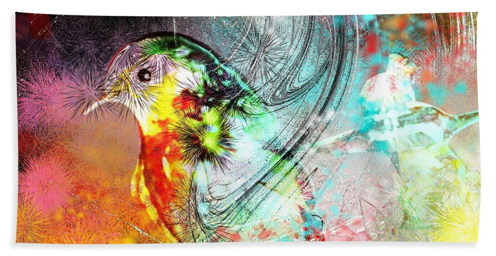 Bird Beach Towel featuring the painting Vagabond by Miki De Goodaboom