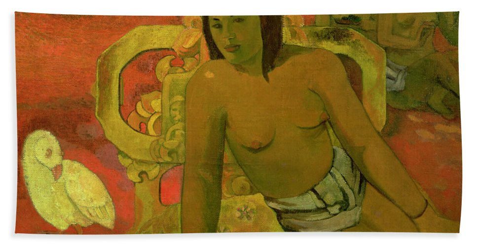 Vairumati Beach Towel featuring the painting Vairumati by Paul Gauguin