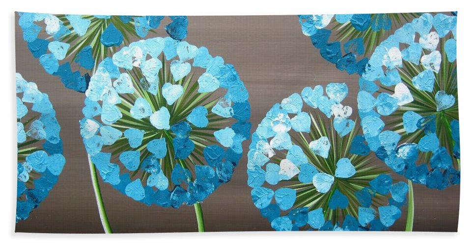 Original Art Alliums Floral Flowers Hearts Blue Green Brown Modern Contempoary Beach Towel featuring the painting Valentine Alliums by Kaye Lake