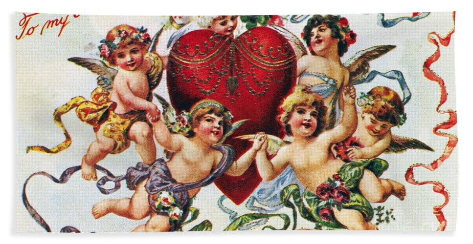 1900 Beach Towel featuring the photograph Valentines Day Card by Granger