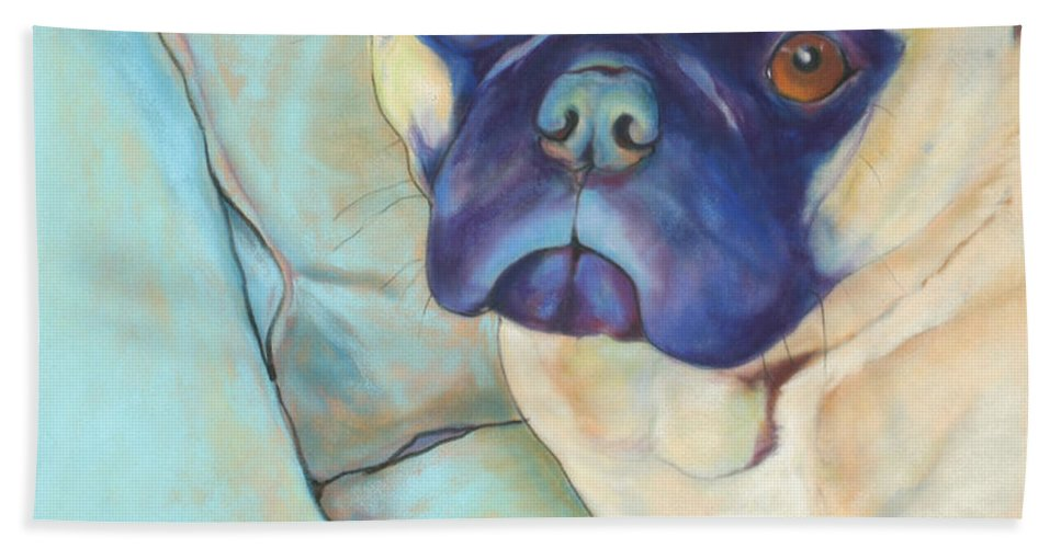 Pug Beach Towel featuring the pastel Valentino by Pat Saunders-White