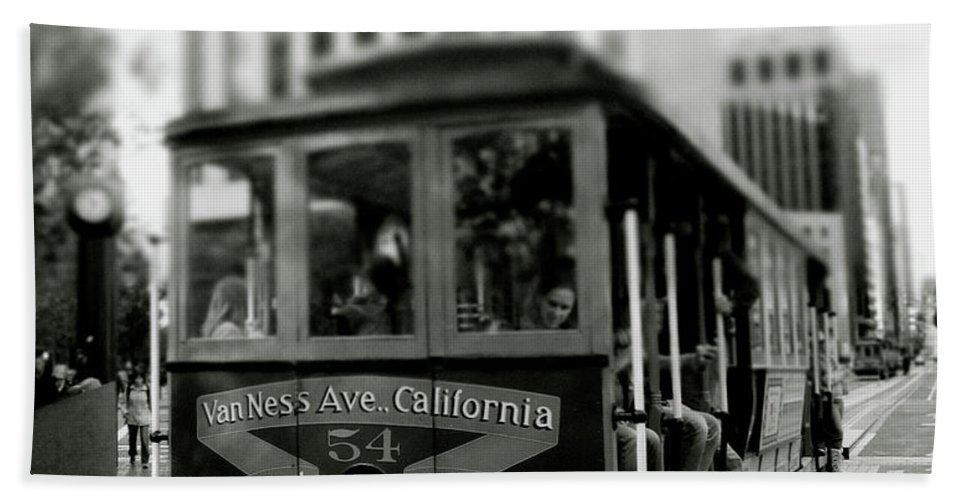 Cable Car Beach Towel featuring the photograph Van Ness And Market Cable Car- By Linda Woods by Linda Woods