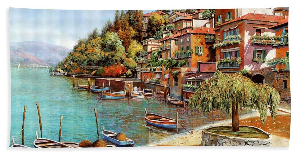 Lake Como Beach Towel featuring the painting Varenna On Lake Como by Guido Borelli
