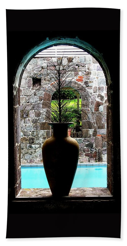 Vase Beach Towel featuring the photograph Vase In A Window by Ian MacDonald
