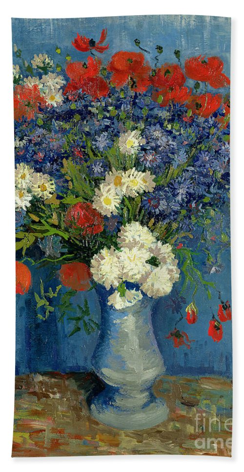Still Beach Towel featuring the painting Vase With Cornflowers And Poppies by Vincent Van Gogh