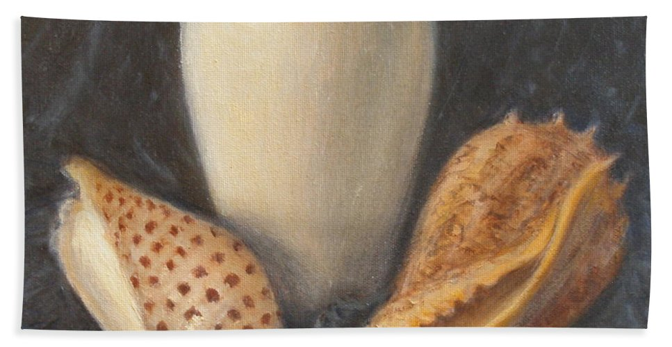 Realism Beach Towel featuring the painting Vase with Imperial Volute and Junonia by Donelli DiMaria