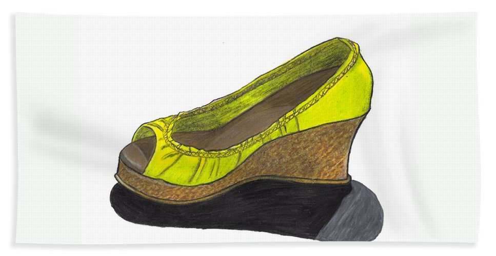 Shoe Beach Towel featuring the drawing Vegas Shoes by Jean Haynes