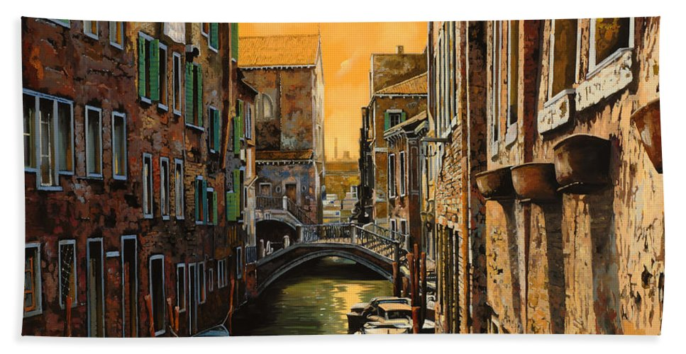 Venice Beach Sheet featuring the painting Venezia Al Tramonto by Guido Borelli