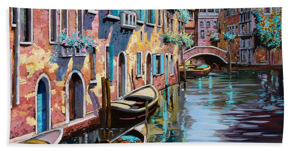 Venice Beach Towel featuring the painting Venezia In Rosa by Guido Borelli