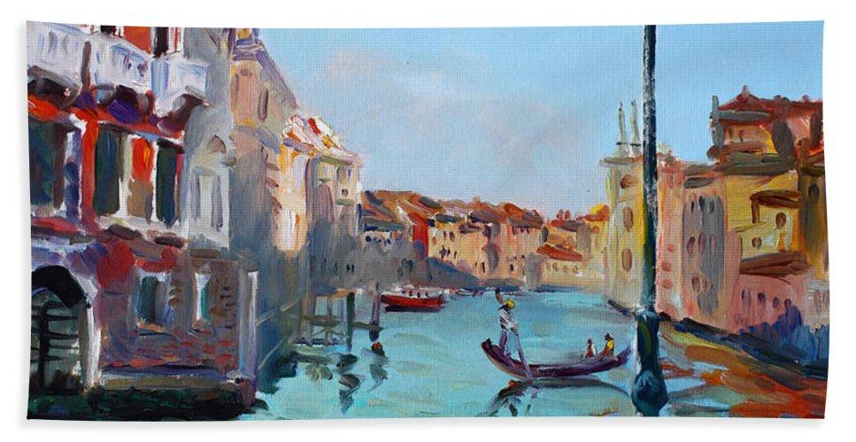 Italy Beach Towel featuring the painting Venice Aspetando by Ylli Haruni