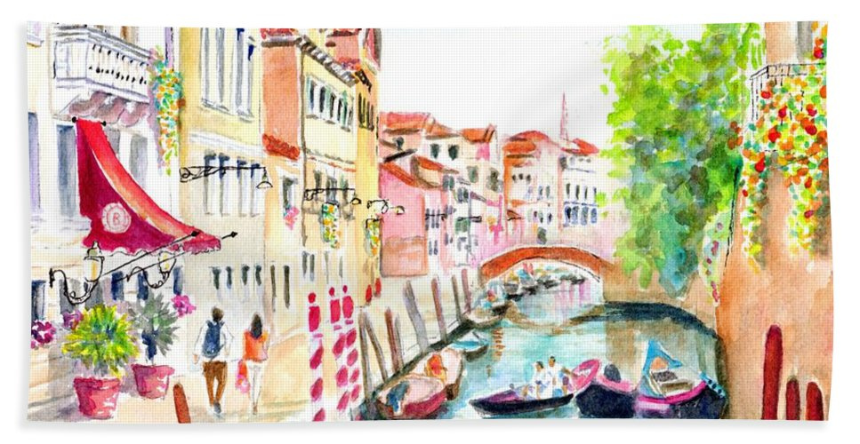 Venice Beach Towel featuring the painting Venice Canal Boscolo Venezia by Carlin Blahnik CarlinArtWatercolor