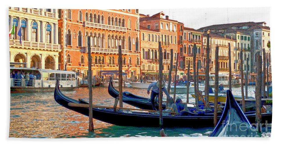 Venice Beach Towel featuring the photograph Venice Canalozzo Illuminated by Heiko Koehrer-Wagner