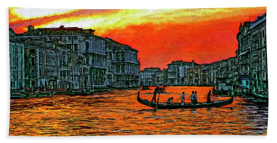Venice Beach Towel featuring the photograph Venice Eventide Impasto by Steve Harrington