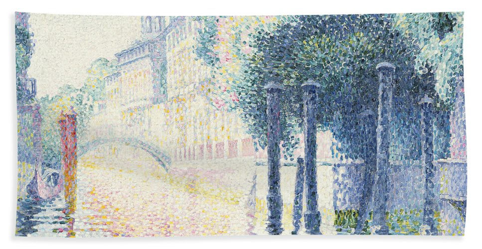 Rio San Trovaso Beach Towel featuring the painting Venice by Henri-Edmond Cross