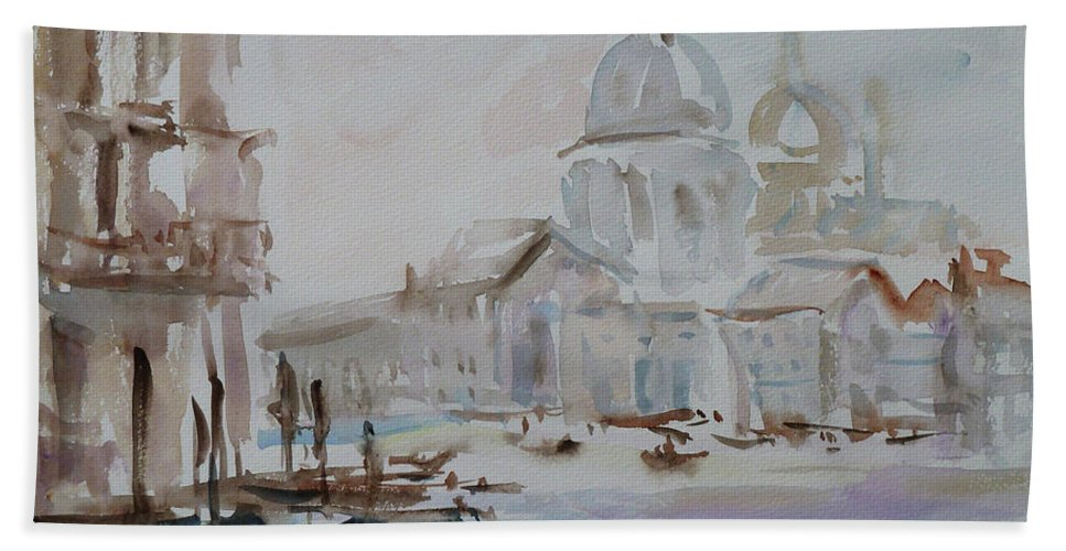 Venice Beach Towel featuring the painting Venice Impression Vi by Xueling Zou