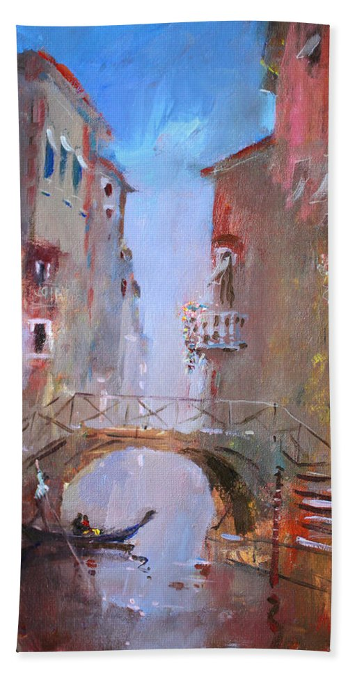 Venice Beach Towel featuring the painting Venice Impression by Ylli Haruni
